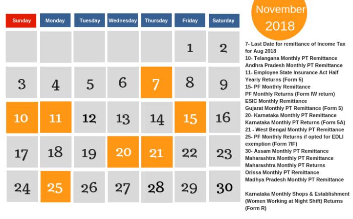 November Calendar - Payroll and Compliance