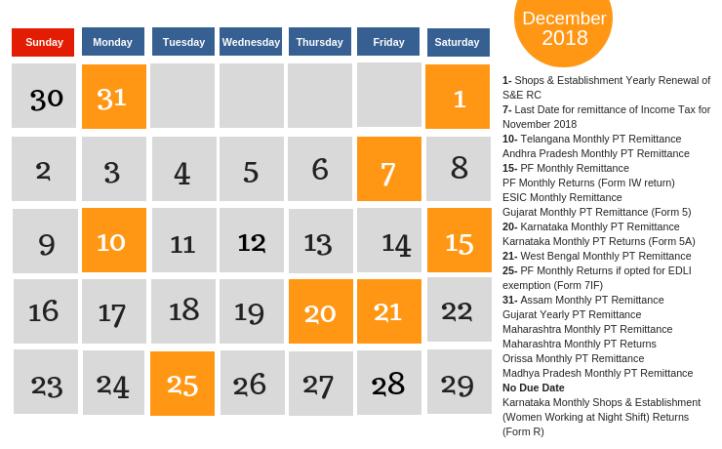 December Calendar - Payroll and Compliance